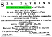 Advert for the Zetland Hotel placed in numerous papers, August 1863