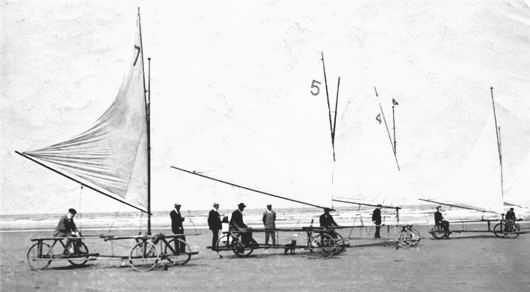 Sand yachts on Saltburn beach. John Foster Satckhouse owned boat number 4.