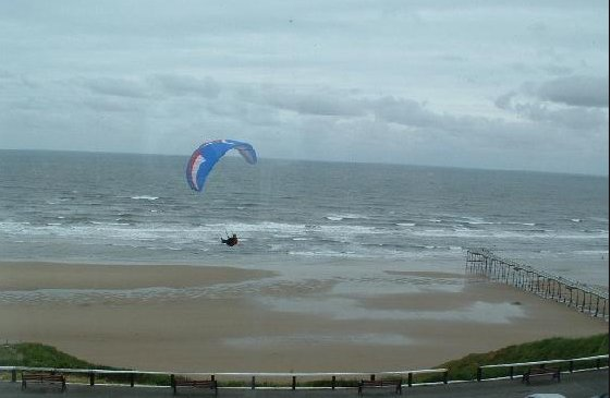 Paragliding over Saltburn cliffs